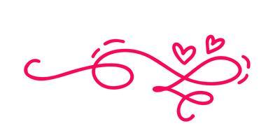 Monoline Red Vintage Vector Valentines Day Hand gezeichnete kalligraphische zwei Herzen. Kalligraphie Schriftzug Abbildung. Urlaub Gestaltungselement Valentinstag. Ikonenliebesdekor für Netz, Hochzeit und Druck. Isoliert