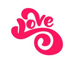 Red Love Handskriven vektor bläckbokstav valentinkoncept. Modern borsthandgjord kalligrafi. Isolerad på vit bakgrund, Design illustration för gratulationskort, bröllop, valentines day