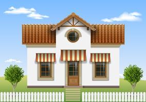 Vackert litet hus med ett staket och träd vektor