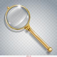 Förstoringsglas för informationssökning av guld vektor