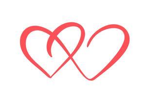 Zwei Liebesherzzeichen. Romantisch. Vektorillustrationsikone Valentinsgrußtagesymbol - verbinden Sie Leidenschaft und Hochzeit Vorlage für T-Shirt, Karte, Poster. Flaches Element entwerfen