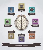 Gehirnaktivität Infografiken vektor