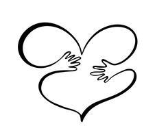 Symbol für Freundlichkeit und Nächstenliebe, Hände und Herz. Hände umarmen Herzsymbol Valentinstag. Übergeben Sie den gezogenen grafischen Illustrationsjungen und -mädchen in der Liebe, Liebe zur Natur, Ökologie