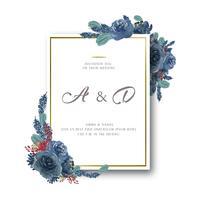 Akvarellfloraler med textramar gräns, frodiga blommor vattenfärgad handmålad isolerad på vit bakgrund. Design blommor dekor för kort, spara datum, bröllop inbjudningskort, affisch, banner.
