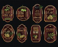 Retro-Label-Sammlung von Olivenöl vektor