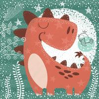 Gullig rolig dino - texturerad illustration