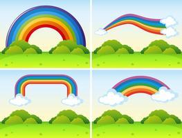 Scener med olika former av regnbågar vektor