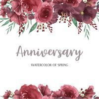 Aquarellblumen mit Textrahmengrenze, üppiges Blumenaquarell handgemalt lokalisiert auf weißem Hintergrund. Entwerfen Sie Blumendekor für Karte, sparen Sie das Datum, Hochzeitseinladungskarten, Plakat, Fahne.