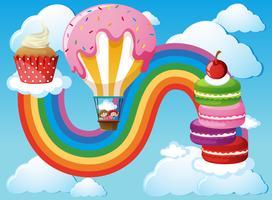 Scen med barn i ballong i himmel vektor