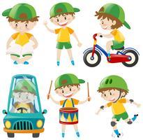 Pojke med grön hatt som gör olika saker vektor