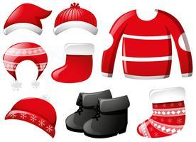 Vinterkläder i rött
