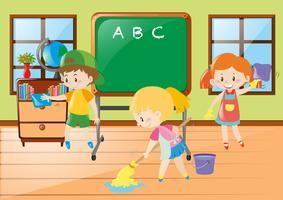 Barn hjälper till att rengöra klassrummet
