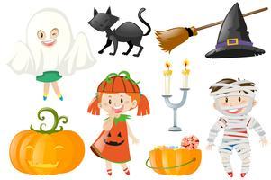 Halloween set mit Kindern in Kostümen vektor