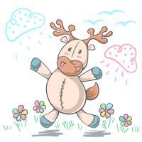 Teddybärrotwildliebe - lustige Illustration der Karikatur. vektor