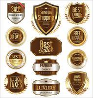 Goldene Premium-Abzeichen und Etiketten