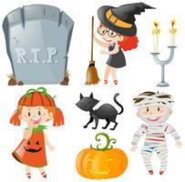 Halloween-Thema mit Kindern in Kostümen vektor