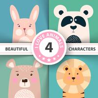 Gesetztes Kaninchen des Karikaturtiers, Panda, Bär, Löwe. vektor