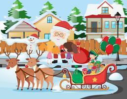 Szene mit Weihnachtsmann und Kindern in der Nachbarschaft vektor