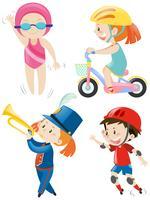 Pojkar och tjejer gör olika aktiviteter vektor