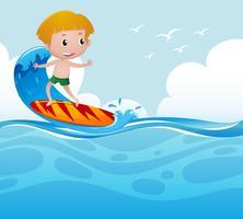 Pojke surfar på vågan vektor