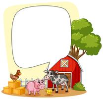 Spracheblasenschablone mit Bauernhofszene im Hintergrund