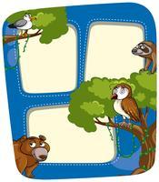 Grenzschablone mit wilden Tieren im Wald
