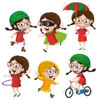 Mädchen macht sechs verschiedene Aktivitäten