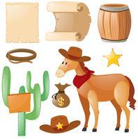 Westernmotiv mit Pferd und Kaktus vektor