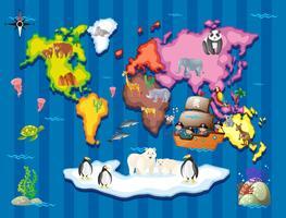 Wilde Tiere in verschiedenen Teilen der Welt vektor