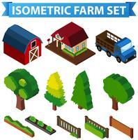 3D-design för ladugård och träd vektor