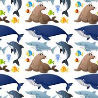 Seamless bakgrundsdesign med havsdjur vektor