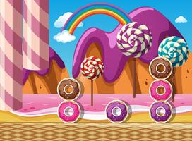 Szene mit Donuts und Lutschern am Strand vektor