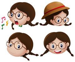 Mädchen mit glücklichem Ausdruck auf Gesicht vektor