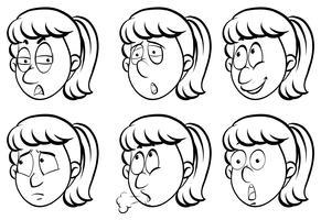 Frau und sechs verschiedene Gefühle vektor