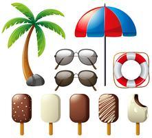 Sonnenbrillen und Eis am Stiel für den Sommer vektor