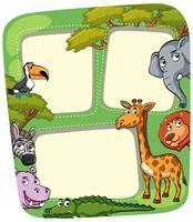 Grenzschablone mit wilden Tieren im Wald vektor