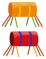 Två tunnlar i gult och rött vektor