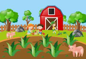 Barn plantering träd på gården vektor