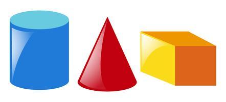 Geometriska former i tre färger vektor
