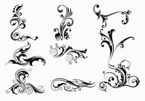 Neun Swirly Scroll Vectors