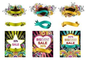 Färgglatt Swirly Vector Banner Pack