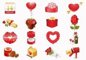 Alla hjärtans dag ikoner Vector Pack