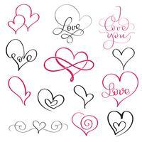 uppsättning blomstra kalligrafi vintagehjärtan och några med kärleksord. Illustration vektor handritad EPS 10