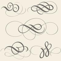 uppsättning kalligrafi blommar konst med vintage dekorativa whorls för design på beige bakgrund. Vektor illustration EPS10
