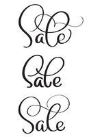 Set Wortverkauf auf weißem Hintergrund. Weinlese-Kalligraphie, die Vektorillustration EPS10 beschriftet vektor
