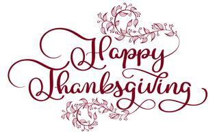 Roter Text der glücklichen Danksagung mit den dekorativen Windungen der Weinlese florish auf weißem Hintergrund. Hand gezeichnete Kalligraphie, die Vektorillustration EPS10 beschriftet