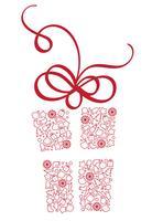 Stilisierte Geschenkbox mit Weihnachtselementen. Kalligraphie-Vektorabbildung EPS10