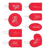Sammlungssatz rote Papiergeschenkmarken mit Text danken Ihnen. Kalligraphie, die handgemachten Text beschriftet. Vektorabbildung EPS10