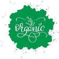 Organiskt ord på grön abstrakt bakgrund. Handritad kalligrafi bokstäver Vektor illustration EPS10