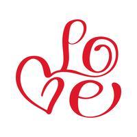 Schöner Typografiehintergrund mit Hand gezeichneter Wort Liebe. Moderne Kalligraphie des handgemachten Vektors
